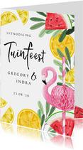 Uitnodiging tuinfeest met tropical elementen en flamingo
