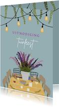 Uitnodiging tuinfeest tuintafel