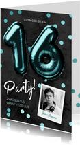 Uitnodiging verjaardag 16 jaar jongen ballonnen