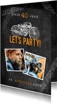 Uitnodiging verjaardag 40 jaar motor, let's party en foto's