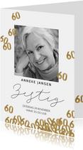 Uitnodiging verjaardag 60 jaar confetti met foto