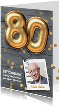 Uitnodiging verjaardag 80 jaar ballon