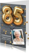 Uitnodiging verjaardag 85 jaar ballon