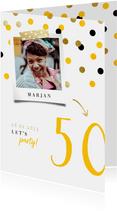 Uitnodiging verjaardag feestelijke confetti aanpasbaar