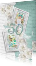 Uitnodiging verjaardag fotolijstjes rozen vrouw