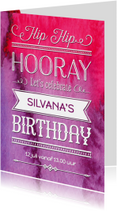 Uitnodiging verjaardag inkt pink - OT
