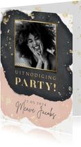 Uitnodiging verjaardag party goud spetters waterverf & foto