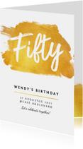 Uitnodiging verjaardag stijlvol en klassiek met goud