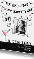 Uitnodiging verjaardag vrouw confetti met eigen foto
