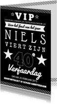 Uitnodiging verjaardagsfeest affiche zwartwit