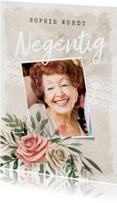 Uitnodigingen - Uitnodiging vintage bloemen met foto