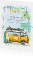 Uitnodiging Volkswagenbusje surfplanken