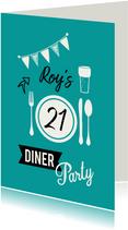 Uitnodiging voor 21 diner party met servies en glas bier