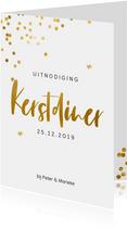 Uitnodiging voor een kerstdiner met gouden confetti