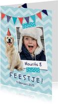 Uitnodiging voor een kinderfeestje foto en hondje