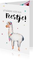 Uitnodiging: voor een kinderfeestje met lama