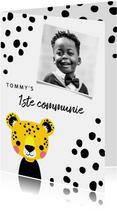 Uitnodiging voor eerste communie met luipaard en stipjes