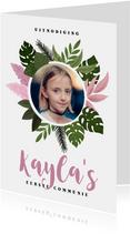 Uitnodiging voor eerste communie met planten voor een meisje