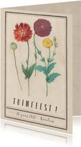 Uitnodiging voor tuinfeest met vintage bloemen