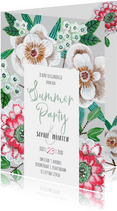 Uitnodiging zomerfeest botanisch bloemen grijs