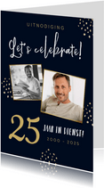 Uitnodigingskaart 25 jaar in dienst feestje confetti foto