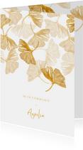 Uitnodigingskaart communie ginkgo wit