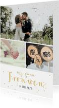 Uitnodigingskaart huwelijk fotocollage 3 foto's en confetti