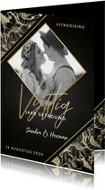 Uitnodigingskaart jubileum 50 jaar gouden bloemen en foto