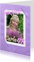 Uitnodigingskaart vintage paars
