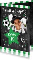 Uitnodigingskaart voetbalfeestje met foto