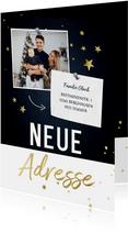 Umzugs-Weihnachtskarte mit Foto und Sternen