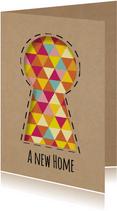 Umzugskarte 'a new home' Schlüsselloch