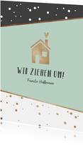 Umzugskarte Haus mit Herz mintgrün