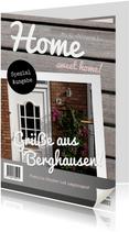 Umzugskarte in Zeitschriftenlook mit Fotos