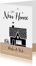 Umzugskarte mit Haus und Fahrrad