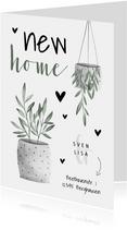Umzugskarte mit Pflanzen, Herzchen und Foto innen