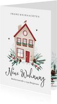 Umzugskarte zu Weihnachten mit Haus und Tannengrün