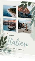 Urlaubskarte botanisch mit vier Fotos