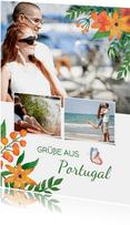 Urlaubskarte mit Fotos und Blumen Land anpassbar