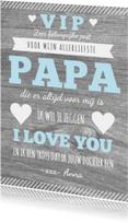 Vaderdag affiche hout tekst hartjes