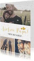 Vaderdag vrolijke fotocollagekaart met 3 foto's en glitters