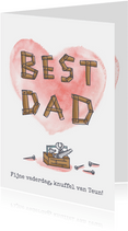 Vaderdagkaart best dad timmerwerk en groot hart