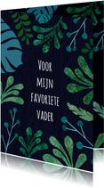 Vaderdagkaart botanisch in groen en blauwtinten