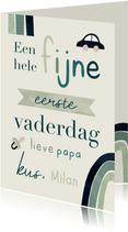 Vaderdagkaart eerste Vaderdag regenboog typografisch