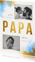 Vaderdagkaart gouden 'PAPA' met foto's en waterverf