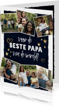 Vaderdagkaart met fotocollage, typografie, sterren & hartjes