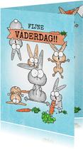 Vaderdagkaart met vader konijn en veel vrolijke konijntjes