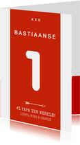 Vaderdagkaart voetbalshirt rood wit met naam