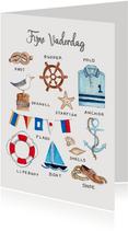 Vaderdagskaart voor een zeil en zee liefhebber