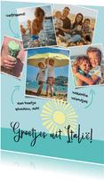 Vakantie ansichtkaart fotocollage met tekstjes